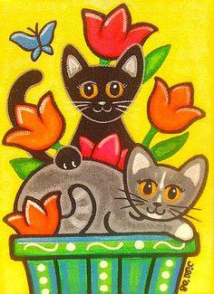 Tulip Cats - Gun Tutorial and Ideas Art Drawings For Kids, Drawing For Kids, Easy Drawings, Art For Kids, Cat Drawing, Painting & Drawing, Silhouette Couple, Arte Peculiar, Whimsical Art