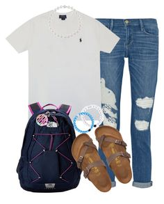 back to school: first day by judebellar03 on Polyvore featuring polyvore, moda, style, Frame Denim, Birkenstock, The North Face, Danielle Stevens, Lilly Pulitzer and Polo Ralph Lauren