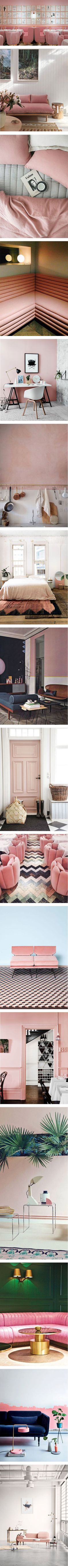16 Pink Interiors to love covet and steal design ideas from. Dynamic blacks and metallics, or natural stone, wood and woven pieces. Pink is a great decor staple.