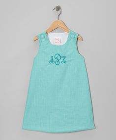 Take a look at this Aqua Gingham Monogram Jumper - Infant & Toddler by Lollypop Kids Clothing on #zulily today!