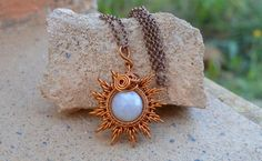 Sun pendant- moon stone gem, wire wrapped jewellery