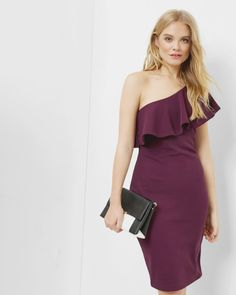 One-shoulder frill dress - Deep Purple | Dresses | Ted Baker UK