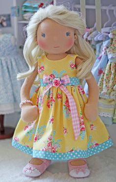 Sunshine and Polka Dots Dress for 18 inch dolls by Olabelhe, $38.00