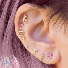 Serpent Earring Snake Jewelry Stud Earrings Cartilage Earring Helix Earring Gold Earrings Snap Back Earrings Gift for Her WishWhim Ohrpiercings Helix Earrings, Cartilage Earrings, Crystal Earrings, Gold Earrings, Stud Earring, Cartilage Piercings, Gold Bracelets, Crystal Jewelry, Cross Earrings