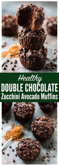 Healthy DOUBLE Chocolate Zucchini Muffins – moist, tender muffins made with avocado, coconut oil, and whole wheat flour. You can't taste the veggies! Even picky toddlers love this easy recipe. Recipe at wellplated.com | @wellplated