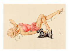 Pin Up Girl and Dog - Vintage Pin Up Illustration | Pin-Up Artwork