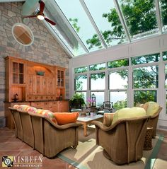 Sunny Slope's conservatory sun room, complete with Pleotint windows that change tint with the sun, designed by Visbeen Architects