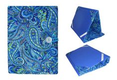 Stunning Blue Paisley Cover for any size iPad, Kindle or Nook! This premium quality hardcover case will help protect your favorite tablet or e-book reader from scratches, smudges, and dust. This padded cover case folds over so you can hold it in one hand while reading or put it on the table to watch your favorite movie. ** Click on the photo or go to www.etsy.com/shop/LisasBagstoRiches to make a purchase today! This fabric won't last long!