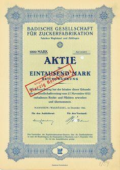 HWPH AG - Historische Wertpapiere - Badische Gesellschaft für Zuckerfabrikation / Mannheim/Waghäusel, Dezember 1922, Aktie über 1.000 Mark, später auf 40 RM umgestempelt