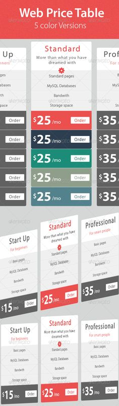 Web & Hosting Price Table Web & Hosting Price Table  This is a clean and modern price table, You can use it on your blog, website, flyers, brochures & banners..  The file includes: 1 PSD files fully layer with 5 group folder 5 different color versions.  Font Used: Myriad Pro