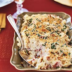 Parmesan and Chive Potato Gratin    Keeping the skins on these potatoes adds a boost of fiber.    Ingredients: Red potatoes, garlic, low-fat milk, butter, Parmesan cheese, breadcrumbs, chives