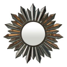 Elegant Mirrored Glass Sunburst Mirror is part of Elegant Home Accessories Mirror This stunning antiqued mirrored glass sunburst mirror is a oneofakind work of art for your bedroom, living room, or - Wall Mirrors Metal, Mirror Tiles, Mirror Mirror, Mexican Interior Design, Mexican Home Decor, Sunburst Mirror, Elegant Homes, Round Mirrors, Antique Glass