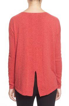 Halogen® Slit Back Nep Yarn Sweater (Regular & Petite) available at #Nordstrom
