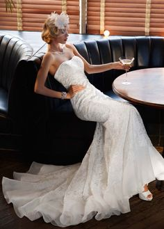 Lace Over Charmeuse Gown with Soutache Detail - David's Bridal - mobile