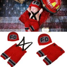 Fireman Red Baby Boy Photography Prop Outfit Hat Cap Halloween Costume Newborn Infant