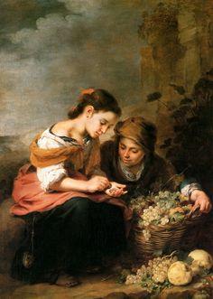 Bartolome Esteban Murillo (Spanish: 1617-1682) - The Little Fruit-Seller, 1675