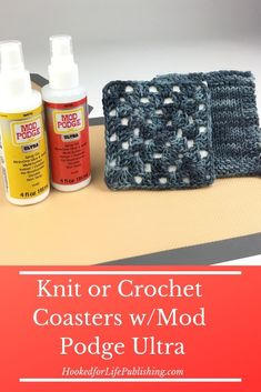 DIY coasters with knit or crochet tops using inexpensive tiles, scrap yarn, and new Mod Podge Ultra! Crochet Home, Knit Or Crochet, Crochet Gifts, Crochet Motif, Crochet Designs, Knitting Designs, Knitting Patterns, Crochet Patterns, Knitting Ideas