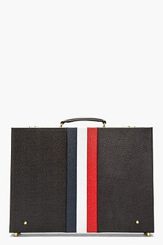 Thom Browne Black Pebbled Leather Stripe Briefcase for men | SSENSE