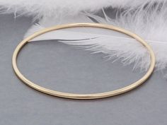 14k solid gold bracelet bangle, shiny and smooth heavy gold bangle
