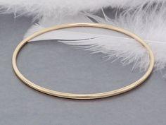 14k solid gold bracelet bangle, shiny and smooth heavy gold bangle