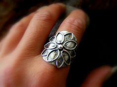 Silver Flower Statement Saddle Ring Sterling Daisy flower ring by dAgDesigns on Etsy https://www.etsy.com/listing/233276529/silver-flower-statement-saddle-ring