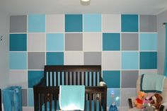 Turquoise Colorblock Accent Wall in the Nursery