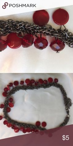 """Necklace with woven gun mental chains Pretty necklace with woven gun metal chain and red Beaded accent. 8"""" long. Jewelry Necklaces"""