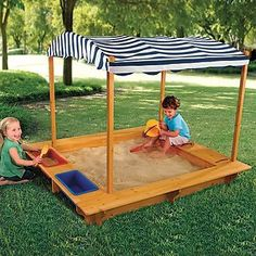 $170 Wood Sandbox with Canopy for rocks