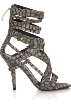 Leather Crocodile-Print Sandals from Givenchy