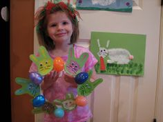 Ramblings of a Crazy Woman: Hand Print Easter Bunny Wreath