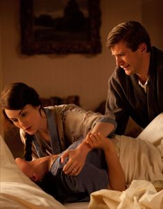 Lady Mary: She can't breath. Tom: Somebody please help her.