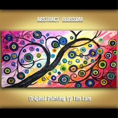 HAPPY blossom Abstract Contemporary Huge Decorative by elsestudio, $288.00