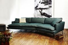 An Island Sofa by Black Tie in a beautiful shade of green. #lounge #sofas #hauteliving