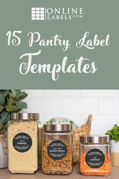 Upgrade your kitchen pantry with printable organization labels. Label your containers for spices, nuts, grains, and more.