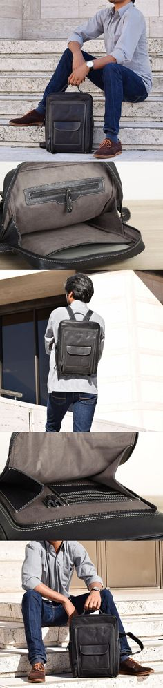 Functional and elegant leather laptop backpack by #Era81 with multiple pockets and bottom studs.