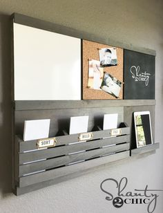 Get organized with this DIY Wall Organizer! Each component slides in and out, making it 100% customizable! Free plans at www.shanty-2-chic.com