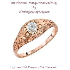 A stunning Art Nouveau Antique Diamond Ring handcrafted in 14 karat Strawberry Gold, featuring a 0.45 carat Old European Cut Diamond.  This antique diamond ring is breathtaking!!  www.BloomingBeaut…