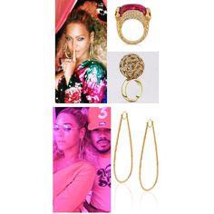 Beyoncé wore Opal Stone's pink tourmaline and diamond two headed snake ring, giraffe sphere diamond ring and diamond cactus pear shaped earrings. (Ig : opsdesign)