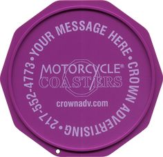 The Original Custom Imprinted Motorcycle Coaster® Purple Motorcycle, White Ink, Coasters, Plate, Messages, Printed, Check, Color, Design