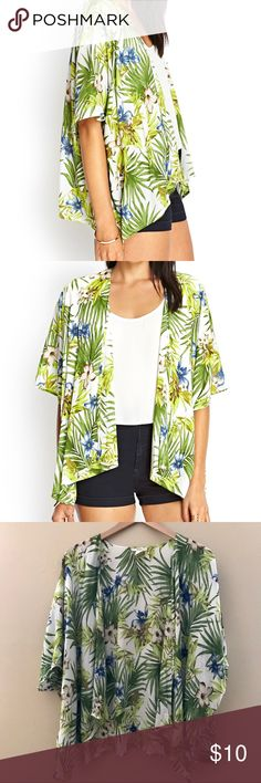 Forever 21 Tropical Kimono Forever 21 Tropical Kimono  - Size : Small    Gypsy Warrior , dolls kill , Nasty Gal , Asos , Pacsun , Urban Outfitters , Forever 21 , Free People , LF , shop bop , revolve clothing , Nordstrom , one teaspoon , planet blue , vintage , grunge , boho , bohemian , Zara , miss guided, Coachella , beach cover up , boohoo , festival style , summer , Hawaiian flowers , tropical print top , festival fashion  (stores for views) Forever 21 Tops