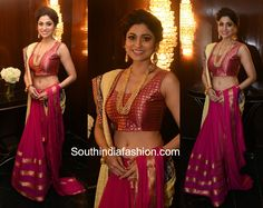 At a recent fashion event, actress Shamita Shetty walked the ramp for Roopa Vohra wearing a magenta pink and beige lehenga ensemble. India Fashion, Women's Fashion, Lehenga, Sarees, Shamita Shetty, Ethinic Wear, Snake Girl, South India, Indian Bollywood
