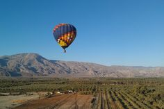 Hot air balloon floating over the Coachella Valley on Thanksgiving weekend 2011