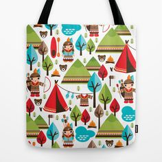 Some fashionable inspiration and new trends for your online birthday or christmas shopping spree. Cute indian haunting illustration pattern Tote Bag by Little Smilemakers Studio - $22.00