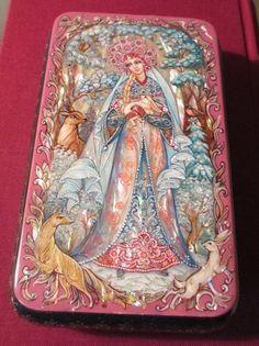 Russian Lacquer Box Kholui Snow Maiden Miniature Hand Painted | eBay