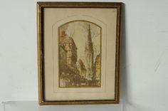 Antique Lithograph Print Victorian London Albert Mettel Helwig Street View #Modernism