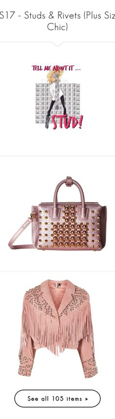 """""""SS17 - Studs & Rivets (Plus Size Chic)"""" by foolsuk ❤ liked on Polyvore featuring bags, handbags, tote bags, mini tote bags, mcm tote, white tote, mini handbags, white tote bag, outerwear and jackets"""