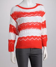Take a look at this Orange Stripe Crocheted Sweater by High Secret on #zulily today! $32.99, regular 79.00