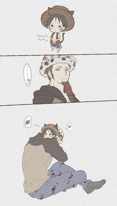 Luffy: I'm hugry  Law: (cute) *hug luffy  Awww Anime: