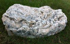 "Skimmer Fake Rock Planter Shown In Texas Limestone 47""L x 28""W x 13""H 14 lbs. # 2100P"