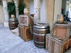 Pirate Scene: To evoke a dock side scene. Props needed. Large and small oak barrels and wooden shipping crates